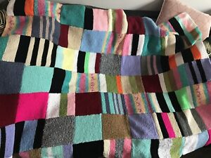 Gorgeous Colourful Hand Made Knitted Blanket Campervan Caravan Decor