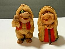 Two Vintage Hand Carved Wood Trolls Gnomes Wooden Man & Woman Norway?