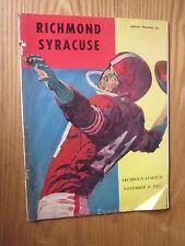 RICHMOND SPIDERS VS SYRACUSE ORANGE 1963 FOOTBALL PROGRAM SCHWARTZWALDER NANCE