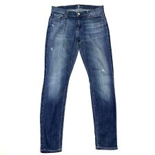 7 For All Mankind 7FAM The Skinny Medium Wash Stretch Skinny Ankle Jeans Sz 28