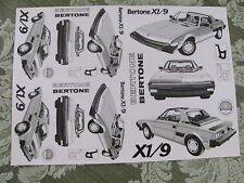 Bertone X1/9 X1-9 Stock Art Sheet #2 original Dealer supplied from Bertone NEW