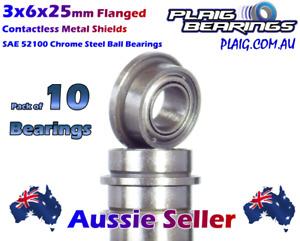 3x6x2.5mm Flanged PREMIUM Bearings (10) Contactless Metal Shields MF63ZZ