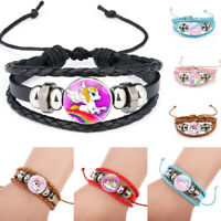 Multilayer Lucky Cartoon Unicorn Leather Bracelet Bangle Jewelry Kids Girls Gift