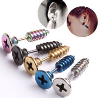 2pc PUNK STAINLESS STEEL  SCREW NAIL FAKE PLUG EARRING EAR STRETCHER STUD COOL