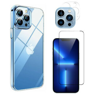 For iPhone 13 Pro Max Mini TPU Case Cover +Screen Protector +Lens Tempered Glass