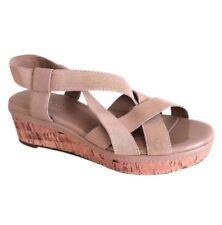 Laura Ashley Women's Beige/Tan Strappy Cork Wedge Heels Sandals Shoes Size 7.5