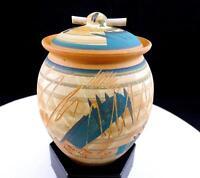 """JA SIGNED ART POTTERY FREE FORM INCISED LINES & BRUSH STROKES 5 1/2"""" LIDDED JAR"""
