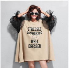 UK Women Casual Baggy Tops Short Sleeves Scoop Neck Brown Hip Length Dress Loose