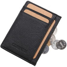 Men 100% Genuine Leather Slim Bifold Pocket Wallet Business Credit Card Holder