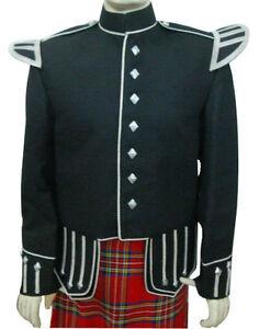 Piper or Drummer Doublet Black Blazer Wool Silver Trim Lion Rampant Buttons
