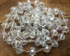 Clear Crystal Beads Rosary Catholic Necklace Holy Soil Metal Cross Long Beaded