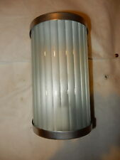 Art Deco Porch Light Sconce Slip Shade w/ Nickel Finish Brass Fixture