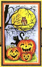 Halloween TREE OWL MOON CAT Wood Mounted Rubber Stamp NORTHWOODS NN10282 New