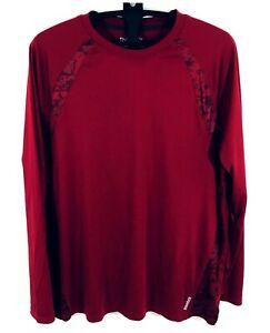 Reebok Mens Size 2XL Burgundy Long Sleeve Shirt Crew Neck Raglan Sleeve
