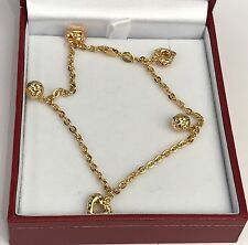 18k Solid Yellow Gold Mix Charms Diamond Cut Italy Bracelet, 4.04Grams