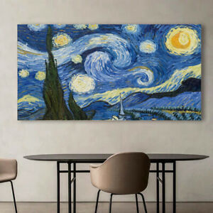 Van Gogh The Starry Night Oil Paint Silk Canvas Poster Wall Prints Decor A967
