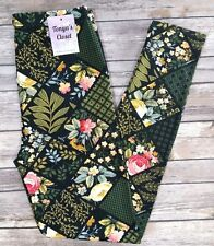 Floral Patch Work Quilt Leggings Leaves Vines Flowers Soft One Size OS