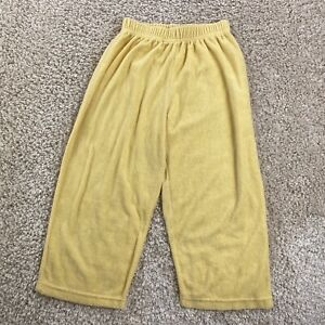 youth kids unisex terry cloth solid yellow lounge wear beach pants