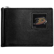 anaheim ducks logo nhl hockey emblem leather bill clip wallet usa made