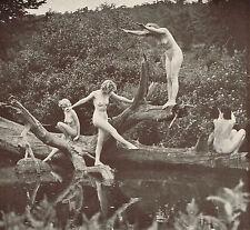 Original Vintage Alfred Cheney Johnston Outdoor Female Nude Ladies Photo Litho