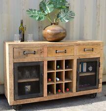 Vintage Industrial Timber Sideboard Buffet Wine Cabinet Metal Doors on Casters