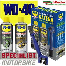 Kit Manutenzione Catena Moto WD 40 Pulizia Grasso Spazzola Pulitore Stradale