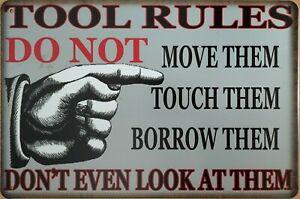 TOOL RULES - GARAGE Rustic Metal Tin Sign. Vintage, Shed, Workshop Bar Man Cave