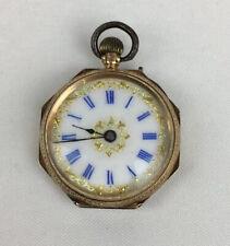 Antique 14ct Yellow Gold & Enamel Ladies Fob Watch Working 2.6cm Face Diameter