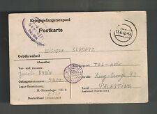 1943 Germany England Army POW Camp PC Cover Stalag 8B to Palestine Jacob Rabin