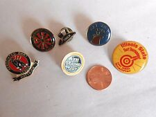 Lot of 6 Vintage Dart Throwng Theme Hat or Lapel Pins