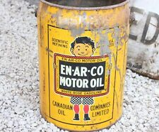 Vintage Enarco 5 Gallon Oil can White Rose Gasoline Wood Handle Sign Tin