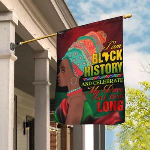 I Am Black History, Black Woman Flag For Home Garden Flag Decor