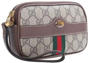 NEW GUCCI OPHIDIA GG SUPREME CANVAS LEATHER WRISTLET CLUTCH BAG