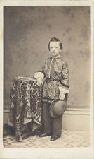CDV PORTRAIT BOY IN UNUSUAL OUTFIT BY HUSBAND   WIFE PHOTOGRAPHER- LOCKPORT, NY