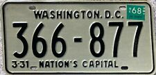 GENUINE 1968 Washington DC USA License Licence Number Plate 366-877