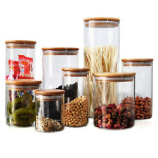 3x 1300ml Glass Food Storage Container Set Cookie Candy Canister Jar Wooden Lid