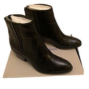 Calvin Klein Women Phaedra Eel Black Leather Boots Shoes R3298 Uk 5 Eu 37 BNIB