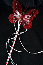 FLOWER GIRL OR BRIDESMAID RED AND  WHITE BUTTERFLY WAND