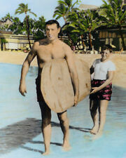 "JOE DiMAGGIO & SON WAIKIKI HONOLULU OAHU HAWAII 8X10"" HAND COLOR TINTED PHOTO"