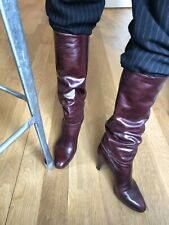 Leather Stiletto Knee-High Slouch Boots Burgundy Vintage