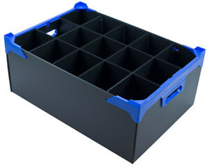 Small Martini Glassware Storage Box - With 15 Sections - Cell Size H190 x D97mm