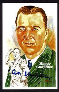 Happy Chandler D.1991 Signed Auto 1983 Perez Steele HOF Post Card - JSA R34320