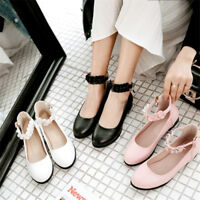 Fashion Women's Round Toe Pumps Mary Janes Ankle Strap Casual Buckle Flats Shoes