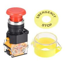 New Listing22mm Latching Emergency Stop Push Button Switch W Protective Cover 60mm Sign