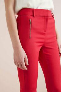 NEXT TAILORING HIGH WAIST RED ZIP SKINNY TROUSERS UK 12T 40 TALL