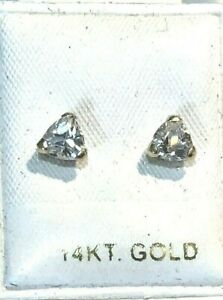 New 14k Yellow Gold Trillion Dia Earrings-Free Shipping!