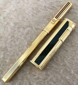 DUNHILL ROLLAGAS SLIM BLACK ENAMEL & Gold Slender LIGHTER & Ballpoint PEN SET