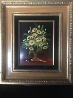 Vintage 60's Maria Lak Daisies Oil Painting on  Panel Framed Signed Modernism
