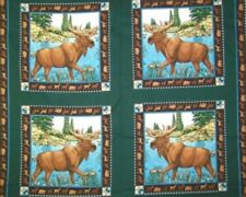 Moose Lake Pillow panel 100% Cotton Fabric by the panel