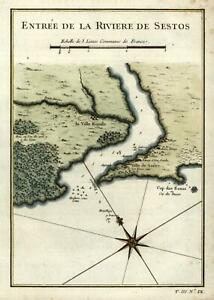 Cestos River coastal West Africa 1747 Prevost Didot engraved map hand color